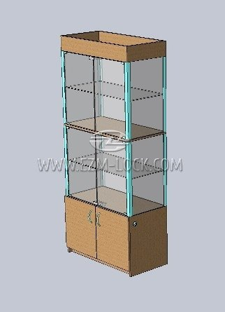 Пример 3: ЗАМОК для двустворчатой двухсекционной витрины с запертым накопителем